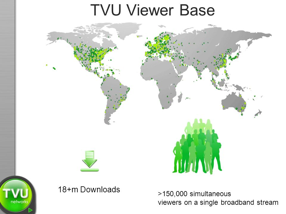 TVU Viewer Base 18+m Downloads >150,000 simultaneous viewers on a single broadband stream