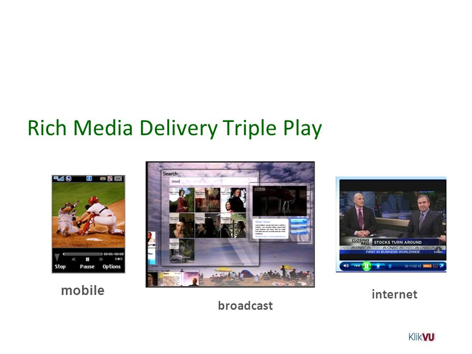 Rich Media Delivery Triple Play internet mobile broadcast