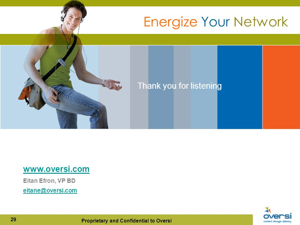 Proprietary and Confidential to Oversi 29   Eitan Efron, VP BD Thank you for listening Energize Your Network