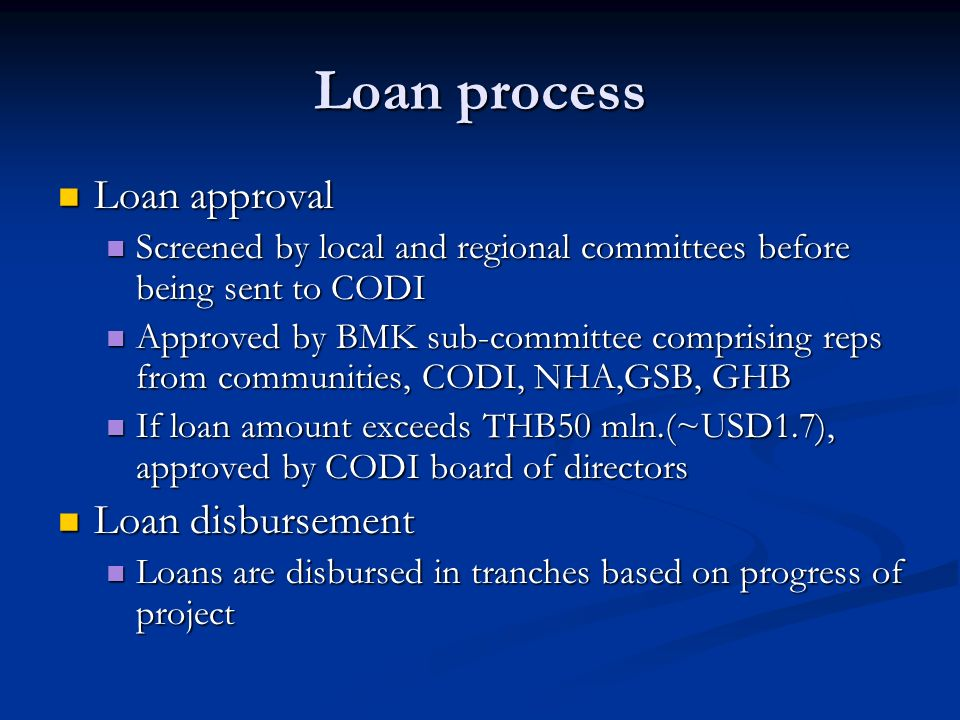 Loan process Loan approval Loan approval Screened by local and regional committees before being sent to CODI Screened by local and regional committees