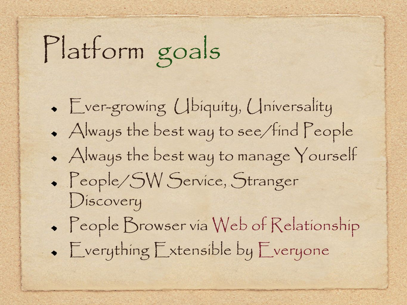 Platform goals Ever-growing Ubiquity, Universality Always the best way to see/find People Always the best way to manage Yourself People/SW Service, St