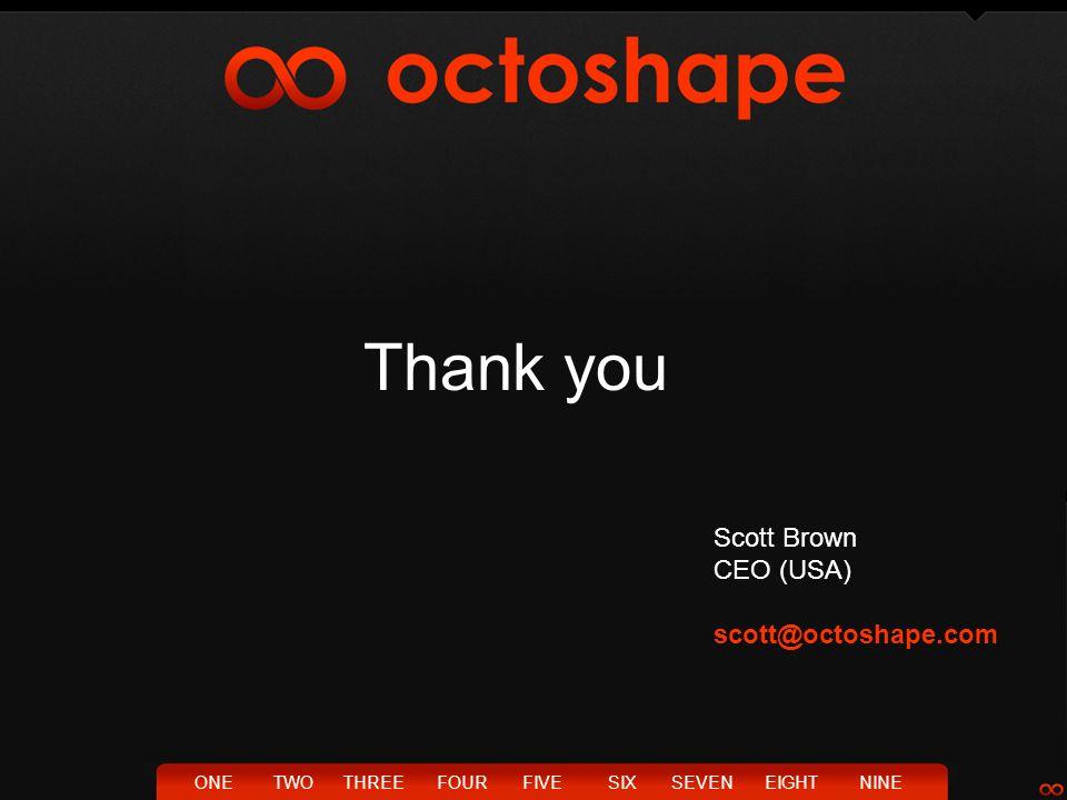 Thank you ONETWOTHREEFOURFIVESIXSEVENEIGHTNINE Scott Brown CEO (USA) scott@octoshape.com