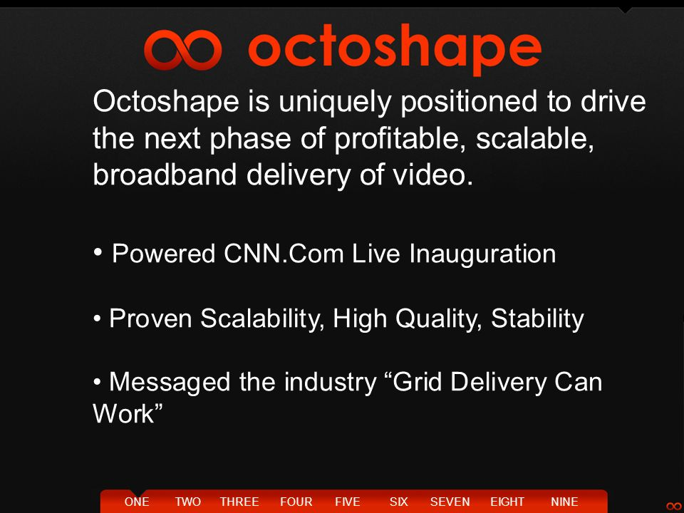 TWOTHREEFOURFIVESIXSEVENEIGHTNINEONE Octoshape is uniquely positioned to drive the next phase of profitable, scalable, broadband delivery of video. Po