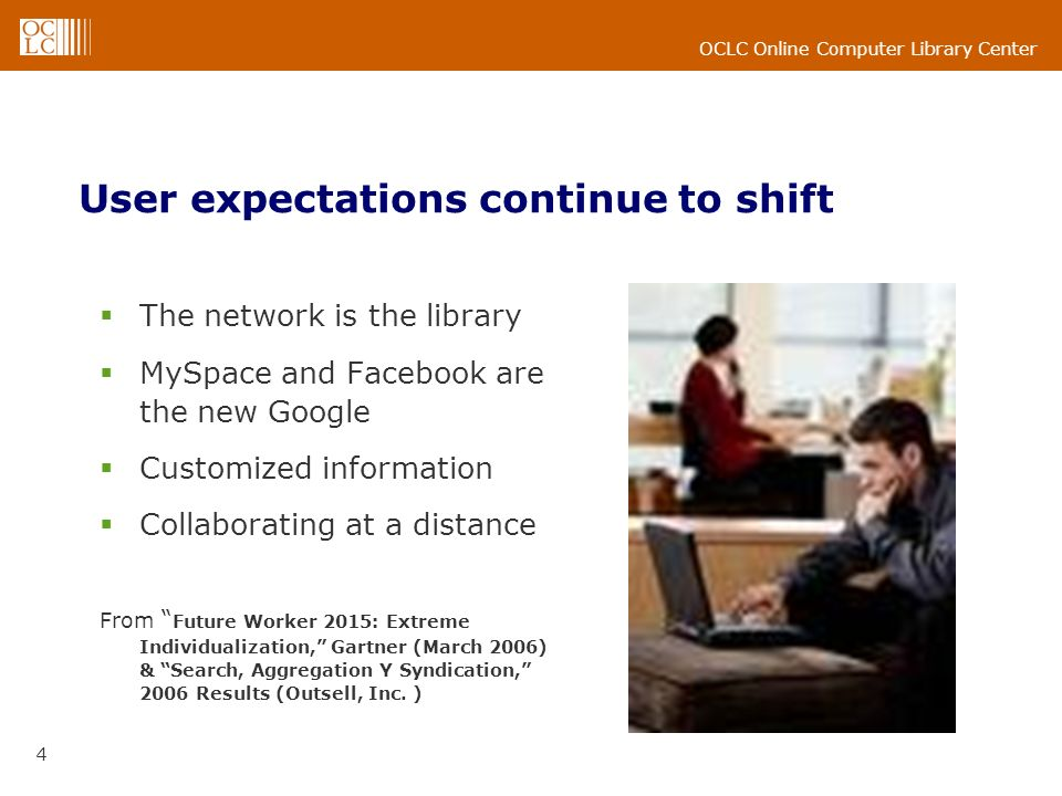 OCLC Online Computer Library Center 4 User expectations continue to shift The network is the library MySpace and Facebook are the new Google Customized information Collaborating at a distance From Future Worker 2015: Extreme Individualization, Gartner (March 2006) & Search, Aggregation Y Syndication, 2006 Results (Outsell, Inc.