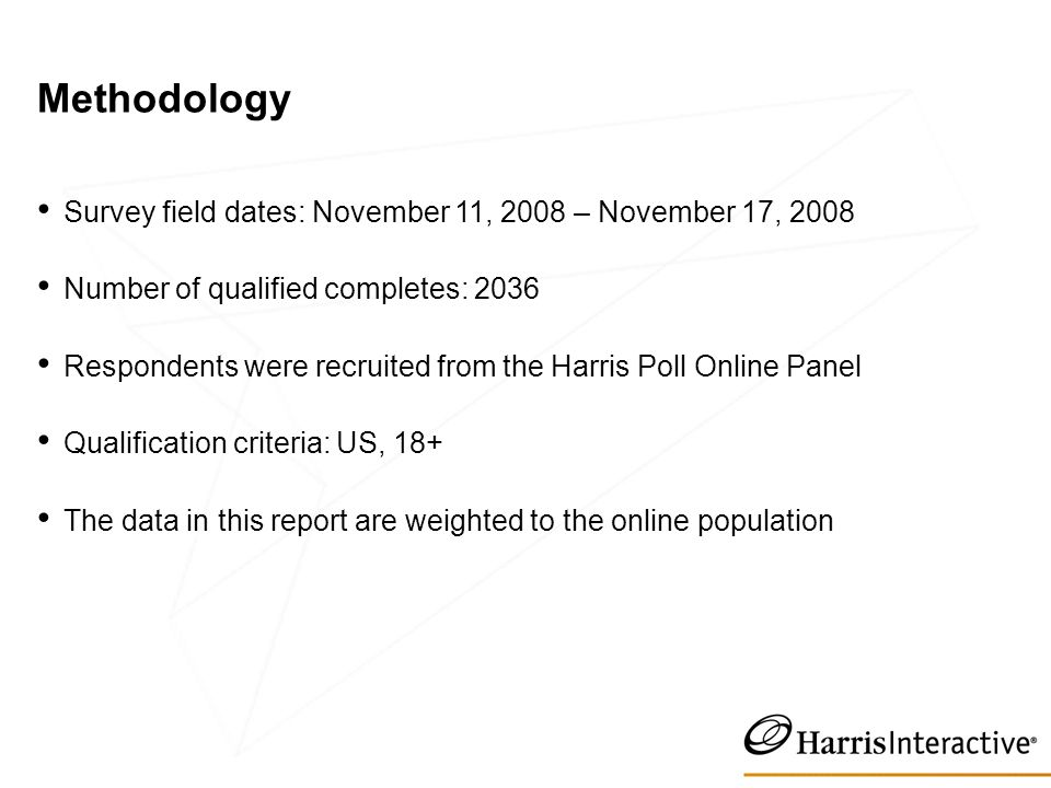 Methodology Survey field dates: November 11, 2008 – November 17, 2008 Number of qualified completes: 2036 Respondents were recruited from the Harris Poll Online Panel Qualification criteria: US, 18+ The data in this report are weighted to the online population