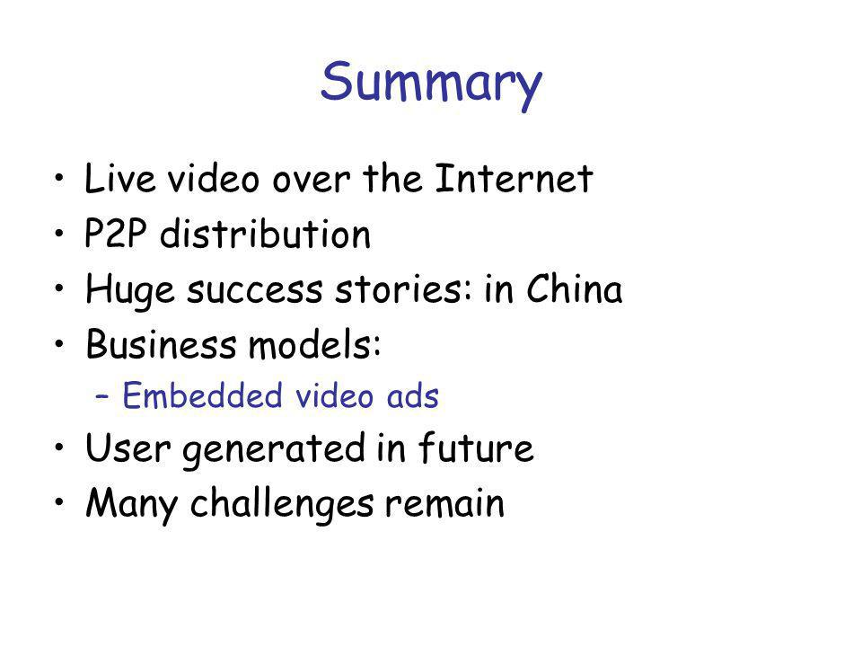 Summary Live video over the Internet P2P distribution Huge success stories: in China Business models: –Embedded video ads User generated in future Many challenges remain