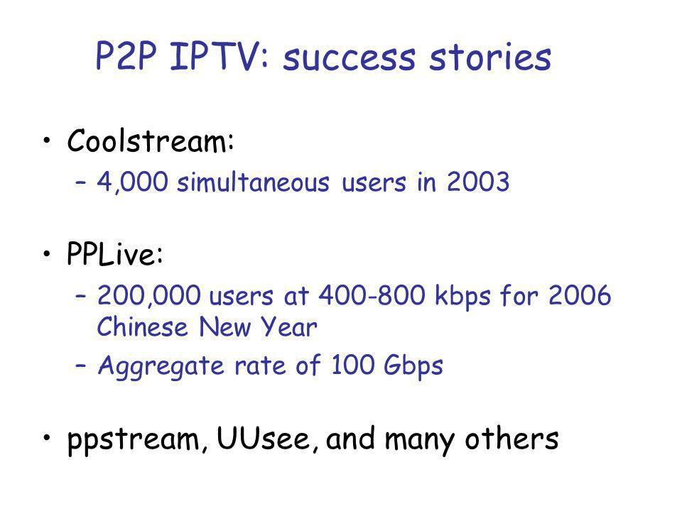 P2P IPTV: success stories Coolstream: –4,000 simultaneous users in 2003 PPLive: –200,000 users at 400-800 kbps for 2006 Chinese New Year –Aggregate rate of 100 Gbps ppstream, UUsee, and many others