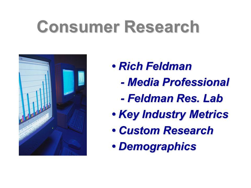 Consumer Research Rich Feldman Rich Feldman - Media Professional - Media Professional - Feldman Res. Lab - Feldman Res. Lab Key Industry Metrics Key I