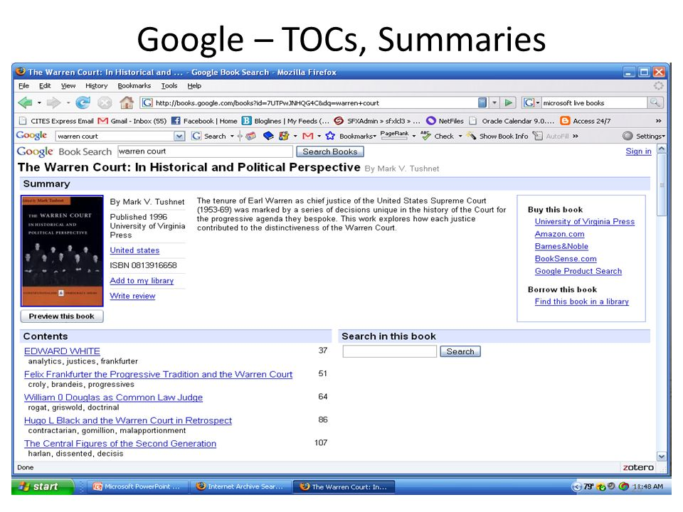 Google – TOCs, Summaries 25