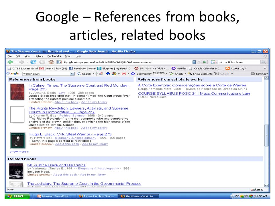 Google – References from books, articles, related books 26