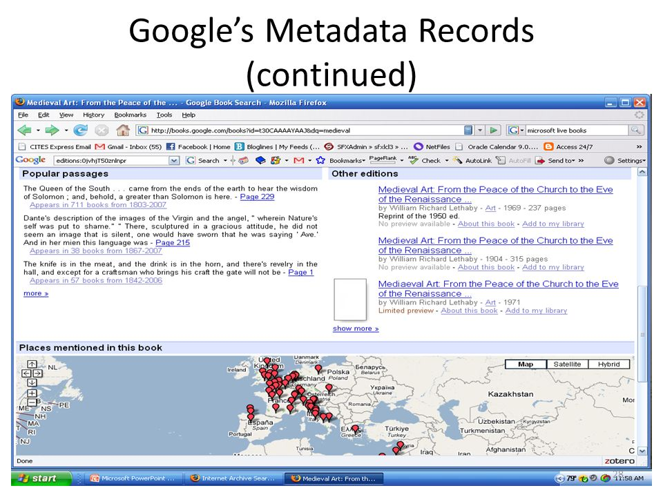 Googles Metadata Records (continued) 28