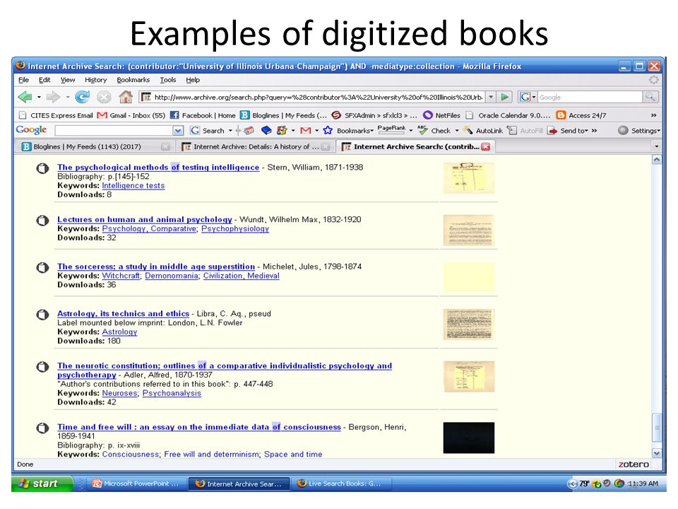 Examples of digitized books 34