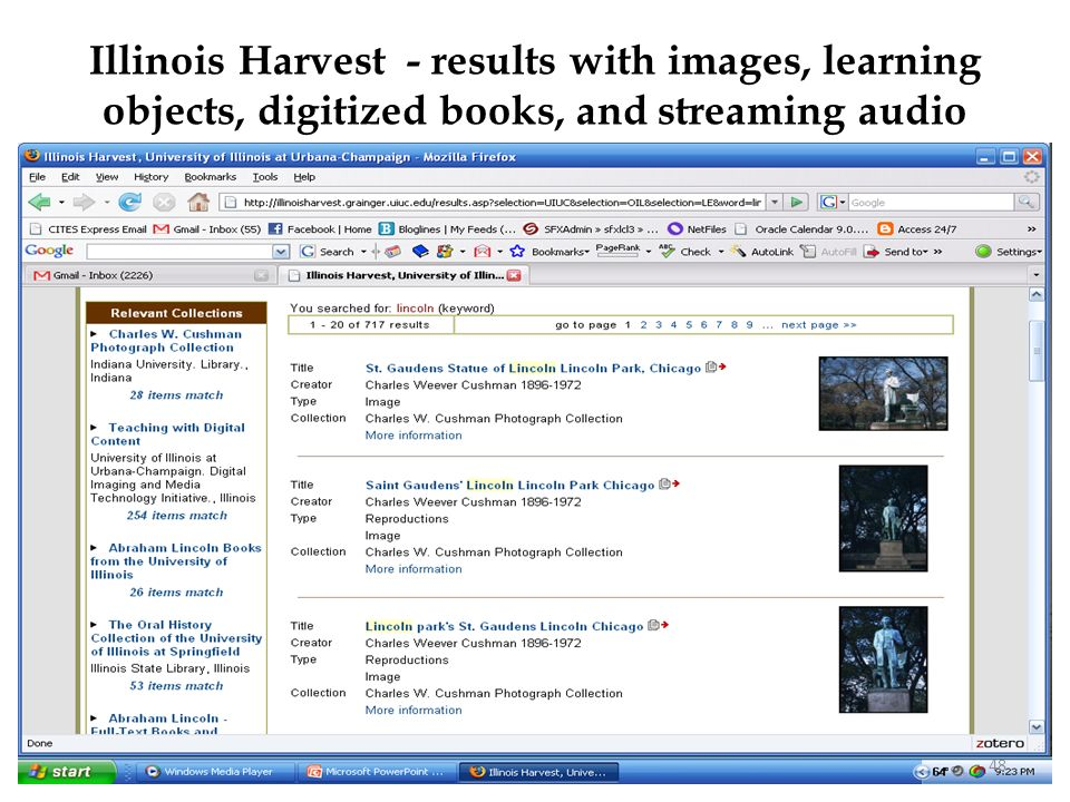 Illinois Harvest - results with images, learning objects, digitized books, and streaming audio 48