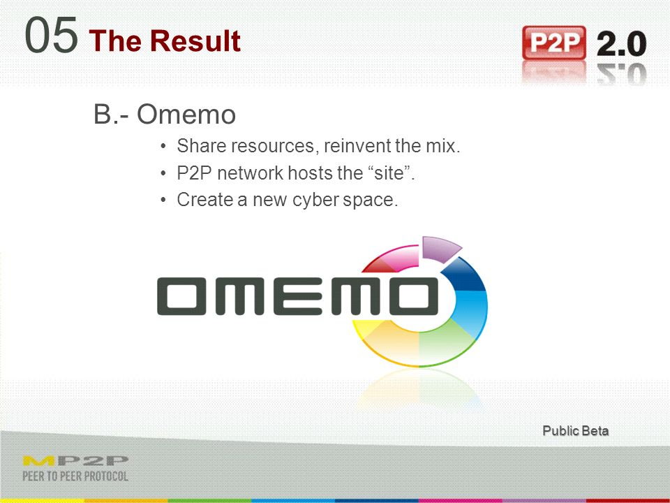 B.- Omemo Share resources, reinvent the mix. P2P network hosts the site.