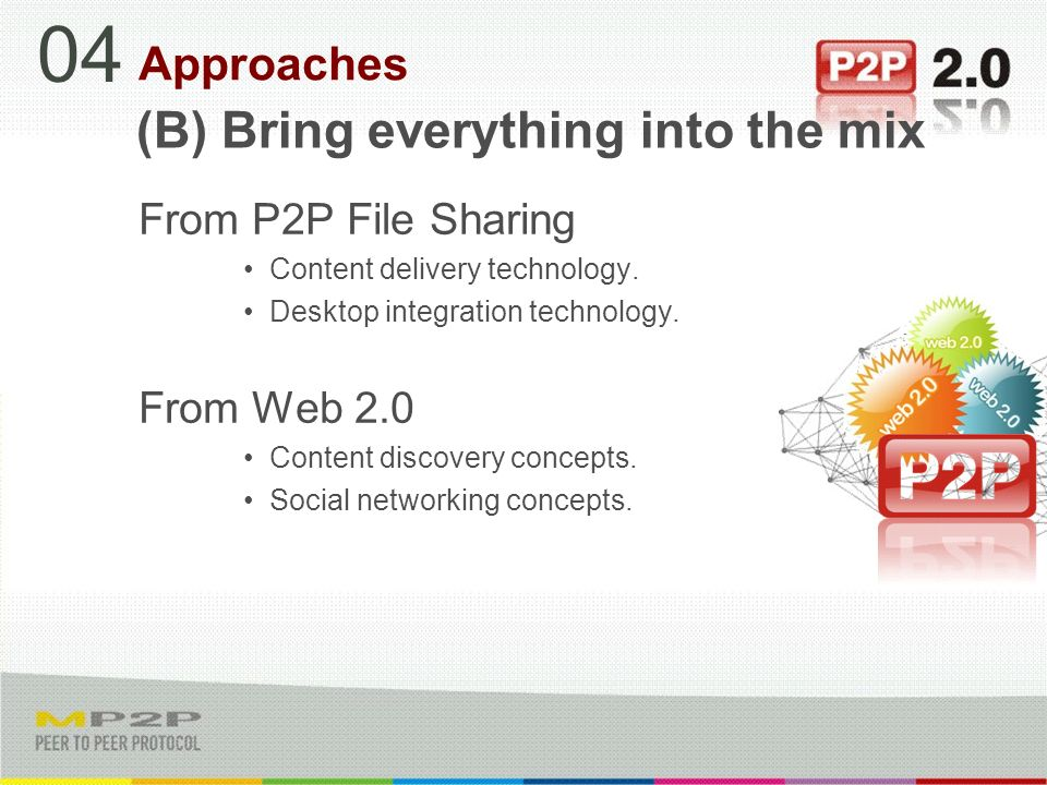 (B) Bring everything into the mix From P2P File Sharing Content delivery technology.