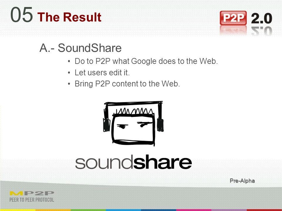 A.- SoundShare Do to P2P what Google does to the Web.
