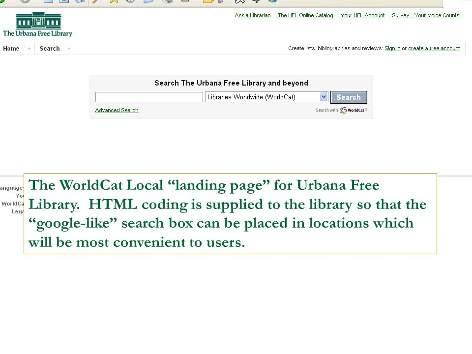The WorldCat Local landing page for Urbana Free Library.