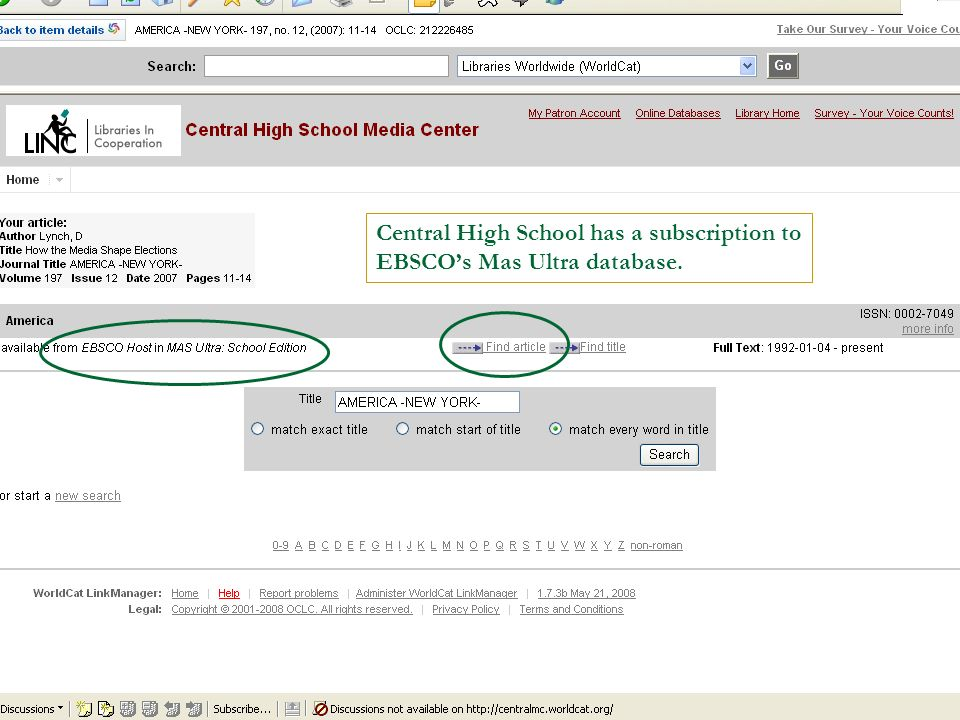 Central High School has a subscription to EBSCOs Mas Ultra database.