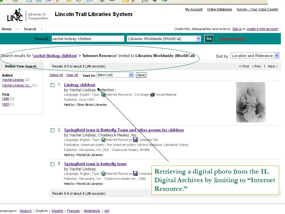 Retrieving a digital photo from the IL Digital Archives by limiting to Internet Resource.