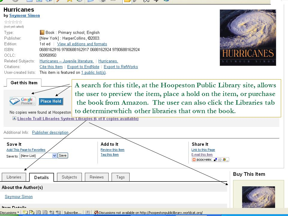 A search for this title, at the Hoopeston Public Library site, allows the user to preview the item, place a hold on the item, or purchase the book from Amazon.