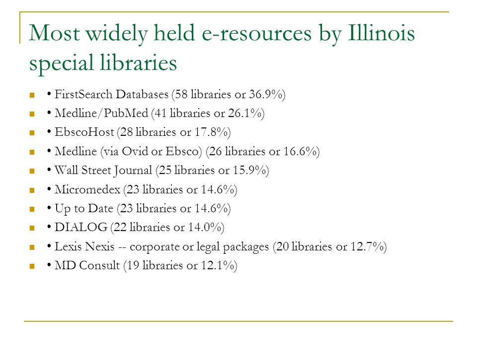 Most widely held e-resources by Illinois special libraries FirstSearch Databases (58 libraries or 36.9%) Medline/PubMed (41 libraries or 26.1%) EbscoHost (28 libraries or 17.8%) Medline (via Ovid or Ebsco) (26 libraries or 16.6%) Wall Street Journal (25 libraries or 15.9%) Micromedex (23 libraries or 14.6%) Up to Date (23 libraries or 14.6%) DIALOG (22 libraries or 14.0%) Lexis Nexis -- corporate or legal packages (20 libraries or 12.7%) MD Consult (19 libraries or 12.1%)