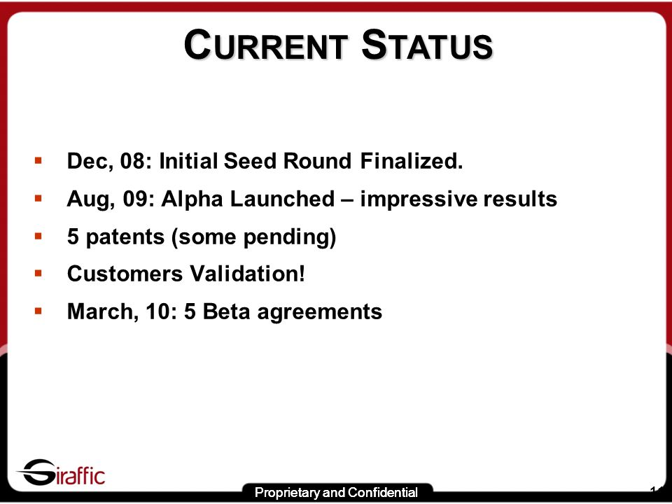 Proprietary and Confidential 11 C URRENT S TATUS Dec, 08: Initial Seed Round Finalized.