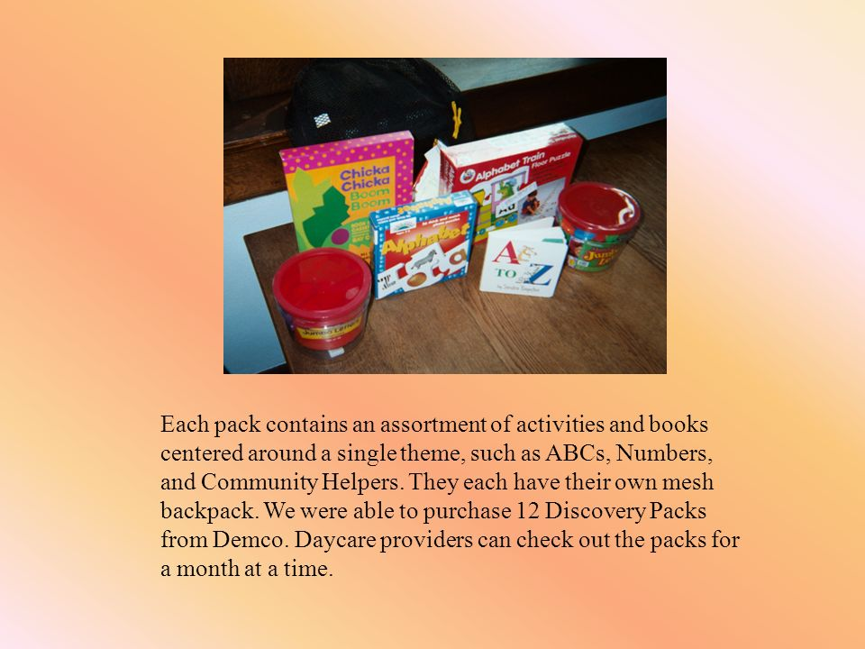 Each pack contains an assortment of activities and books centered around a single theme, such as ABCs, Numbers, and Community Helpers.