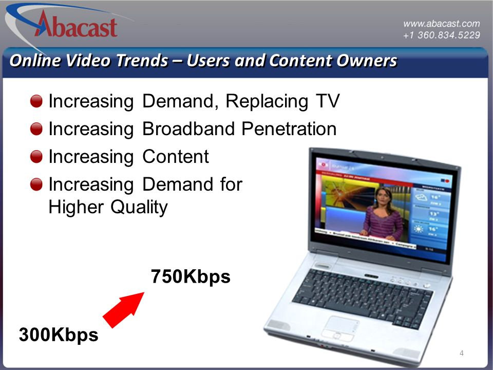 4 Online Video Trends – Users and Content Owners Increasing Demand, Replacing TV Increasing Broadband Penetration Increasing Content Increasing Demand for Higher Quality 300Kbps 750Kbps
