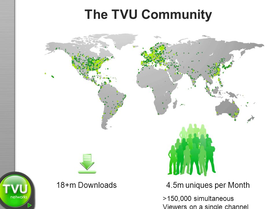The TVU Community 18+m Downloads >150,000 simultaneous Viewers on a single channel 4.5m uniques per Month