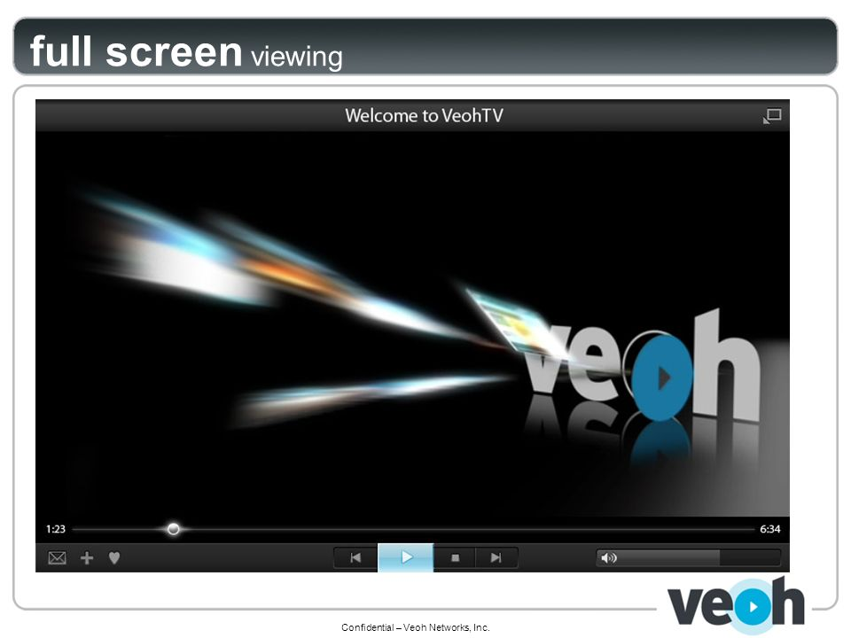 Confidential – Veoh Networks, Inc. full screen viewing