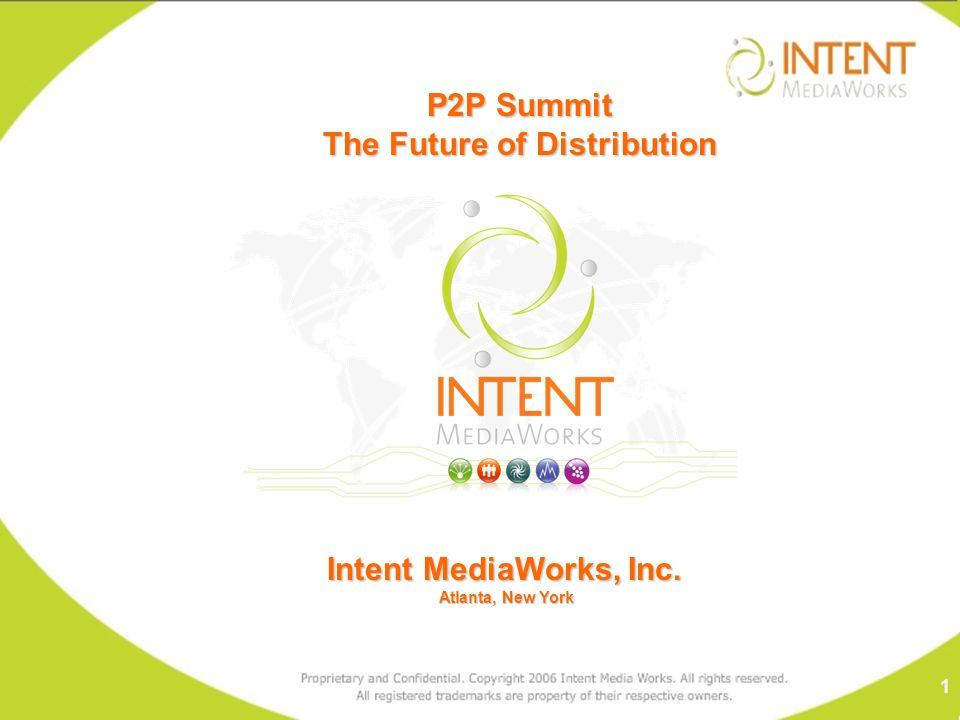 Intent MediaWorks, Inc. Atlanta, New York Atlanta, New York P2P Summit The Future of Distribution 1