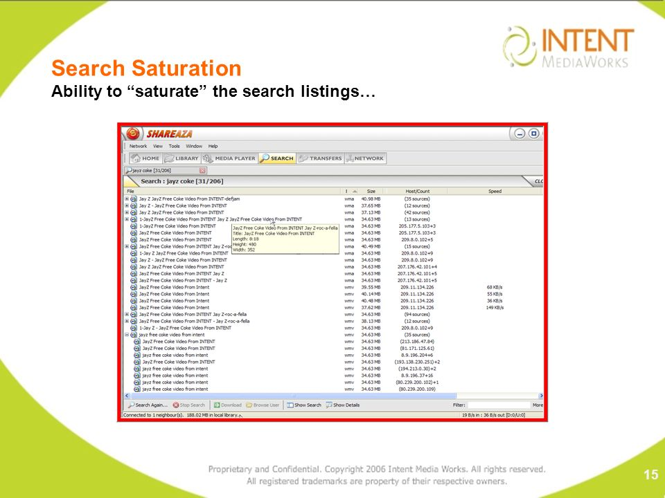 Search Saturation Ability to saturate the search listings… 15
