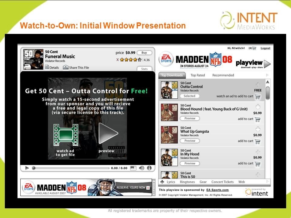 Watch-to-Own: Initial Window Presentation 20