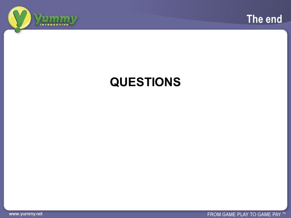 www.yummy.net The end QUESTIONS