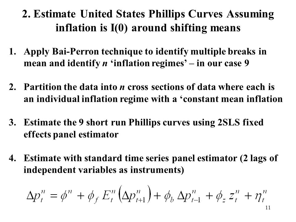 11 2. Estimate United States Phillips Curves Assuming inflation is I(0) around shifting means 1.Apply Bai-Perron technique to identify multiple breaks