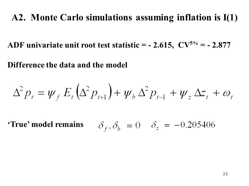 33 A2. Monte Carlo simulations assuming inflation is I(1) ADF univariate unit root test statistic = - 2.615, CV 5% = - 2.877 Difference the data and t