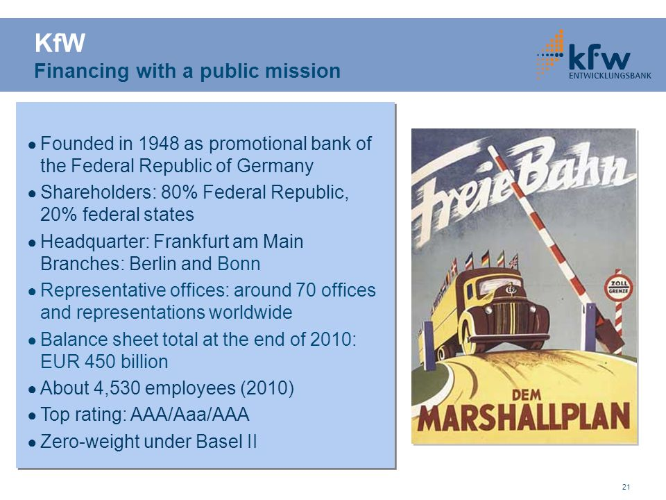 21 Founded in 1948 as promotional bank of the Federal Republic of Germany Shareholders: 80% Federal Republic, 20% federal states Headquarter: Frankfur