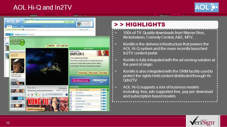 13 AOL Hi-Q and In2TV > > HIGHLIGHTS + 100s of TV Quality downloads from Warner Bros, Nickelodeon, Comedy Central, A&E, MTV, … + Kontiki is the delivery infrastructure that powers the AOL Hi-Q system and the more recently launched In2TV content portal + Kontiki is fully integrated with the ad serving solution at the point of origin + Kontiki is also integrated with the DRM facility used to protect the rights held content distributed through Hi- Q/In2TV + AOL Hi-Q supports a mix of business models including: free, ads supported free, pay per download and subscription based models