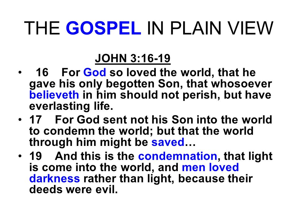 THE GOSPEL IN PLAIN VIEW JOHN 3:16-19 16 For God so loved the world, that he gave his only begotten Son, that whosoever believeth in him should not pe