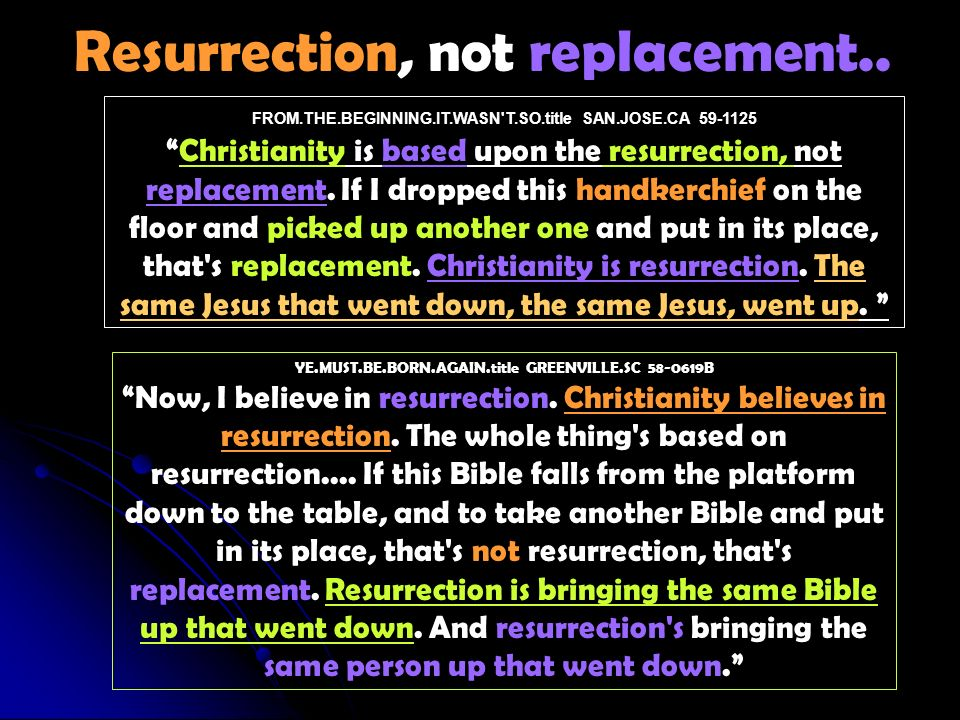 FROM.THE.BEGINNING.IT.WASN T.SO.title SAN.JOSE.CA 59-1125Christianity is based upon the resurrection, not replacement.