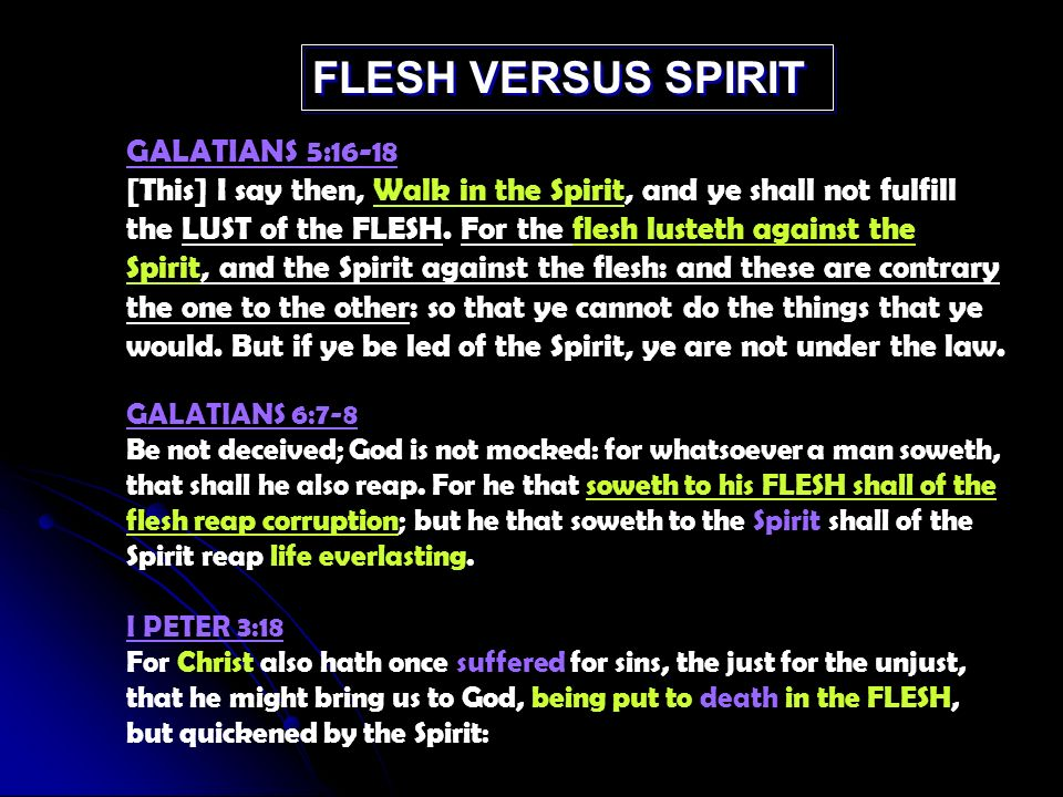 GALATIANS 5:16-18 [This] I say then, Walk in the Spirit, and ye shall not fulfill the LUST of the FLESH.