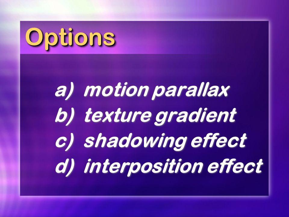 OptionsOptions a)motion parallax b)texture gradient c)shadowing effect d)interposition effect a)motion parallax b)texture gradient c)shadowing effect