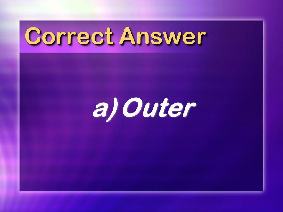 Correct Answer a)Outer