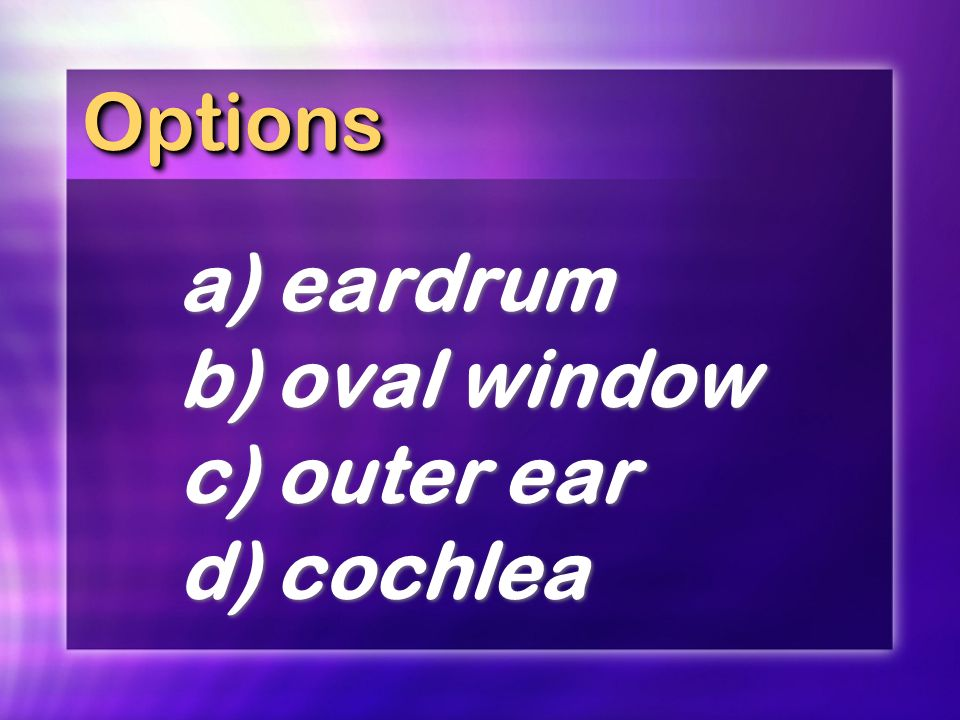 OptionsOptions a)eardrum b)oval window c)outer ear d)cochlea a)eardrum b)oval window c)outer ear d)cochlea