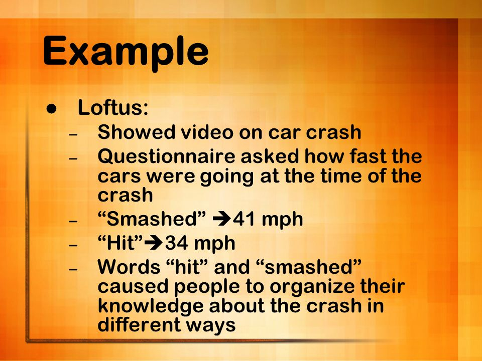 Example Loftus: – Showed video on car crash – Questionnaire asked how fast the cars were going at the time of the crash – Smashed 41 mph – Hit 34 mph