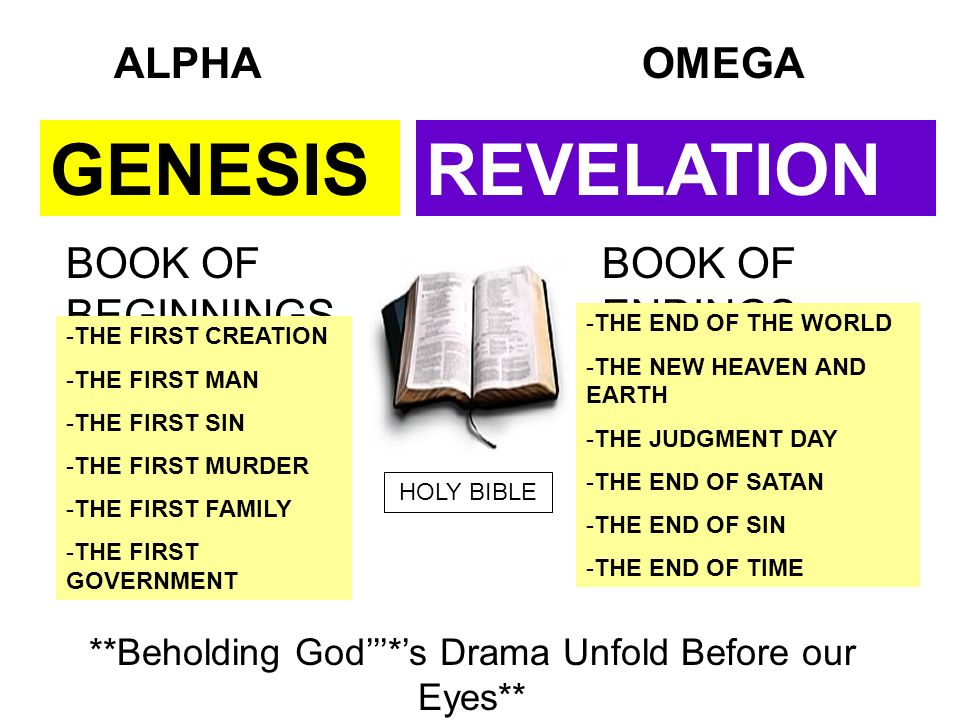 GENESISREVELATION BOOK OF BEGINNINGS BOOK OF ENDINGS -T-THE FIRST CREATION -T-THE FIRST MAN -T-THE FIRST SIN -T-THE FIRST MURDER -T-THE FIRST FAMILY -