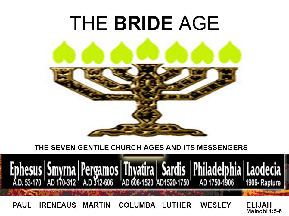 THE BRIDE AGE PAULIRENEAUSMARTINCOLUMBALUTHERWESLEYELIJAH THE SEVEN GENTILE CHURCH AGES AND ITS MESSENGERS Malachi 4:5-6
