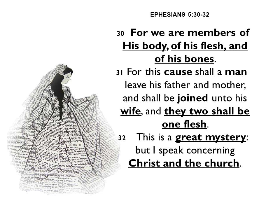 EPHESIANS 5:30-32 30 For we are members of His body, of his flesh, and of his bones. 31 For this cause shall a man leave his father and mother, and sh