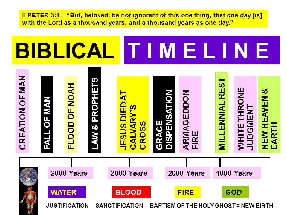 BIBLICALT I M E L I N E FLOOD OF NOAHJESUS DIED AT CALVARYS CROSS ARMAGEDDON FIRE MILLENNIAL REST 2000 Years 1000 Years NEW HEAVEN & EARTH WHITE THRON