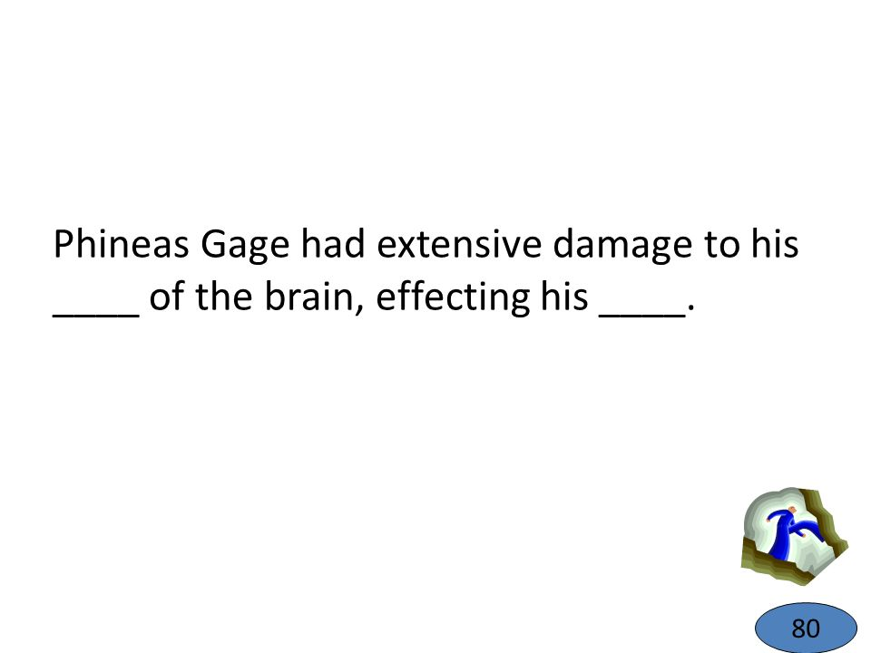Phineas Gage had extensive damage to his ____ of the brain, effecting his ____. 80